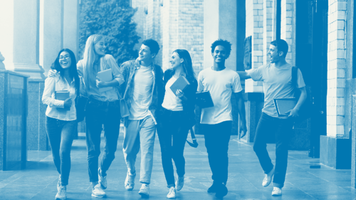 six teenagers walking on a campus corridor laughing overlayed in blue